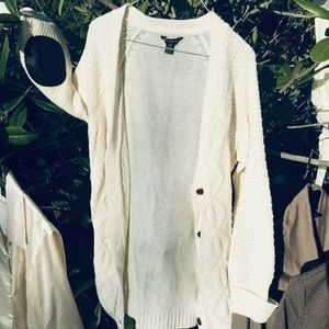 90s Cream Cardi with Elbow Patch